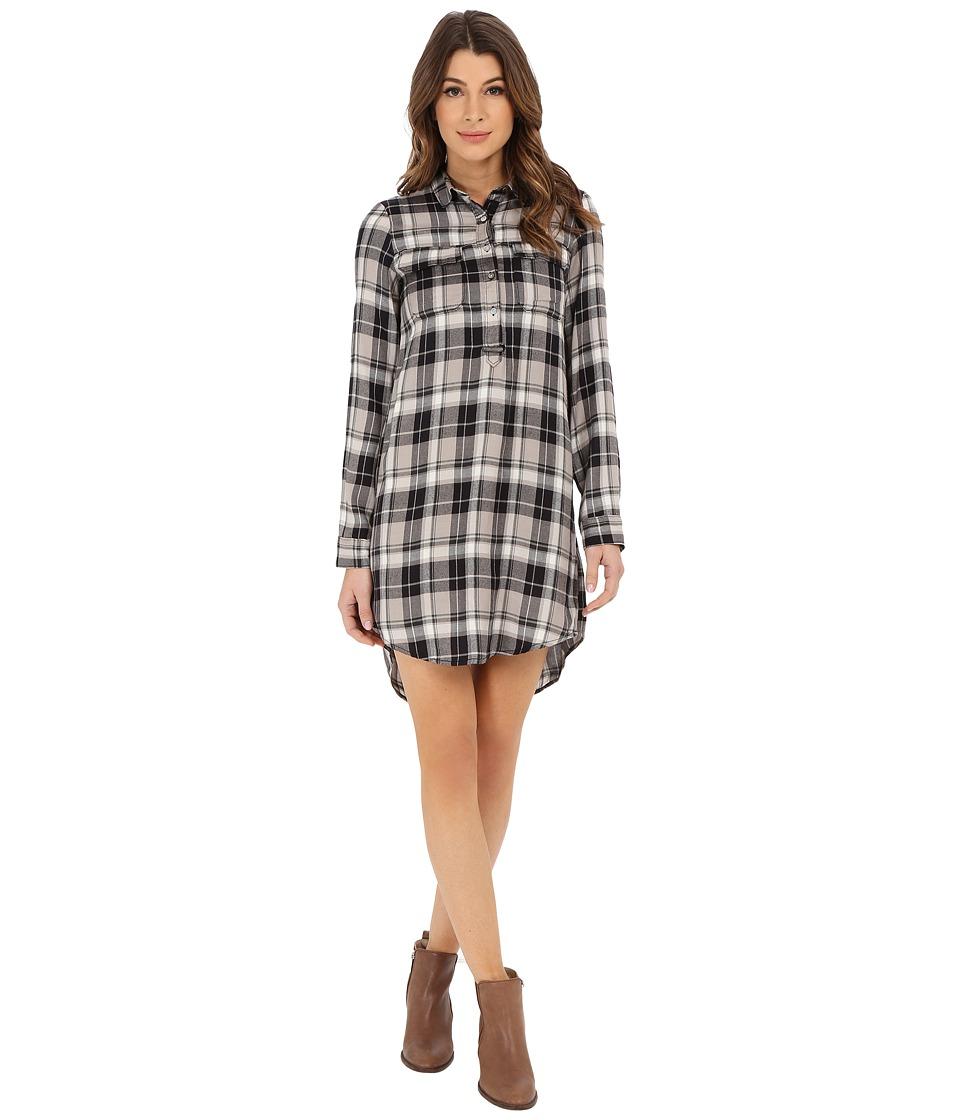 Lucky Brand - Plaid Henley Shirtdress (Black Multi) Women's Dress