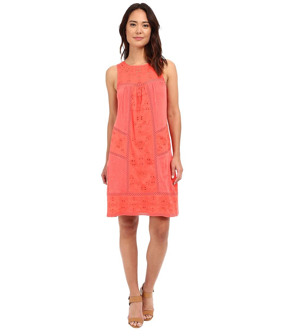 Lucky Brand Eyelet Mixed Knit Dress (Cayenne) Women