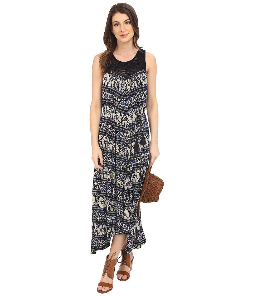 Lucky Brand - Crochet Yoke Printed Dress (Blue Multi) Women's Dress