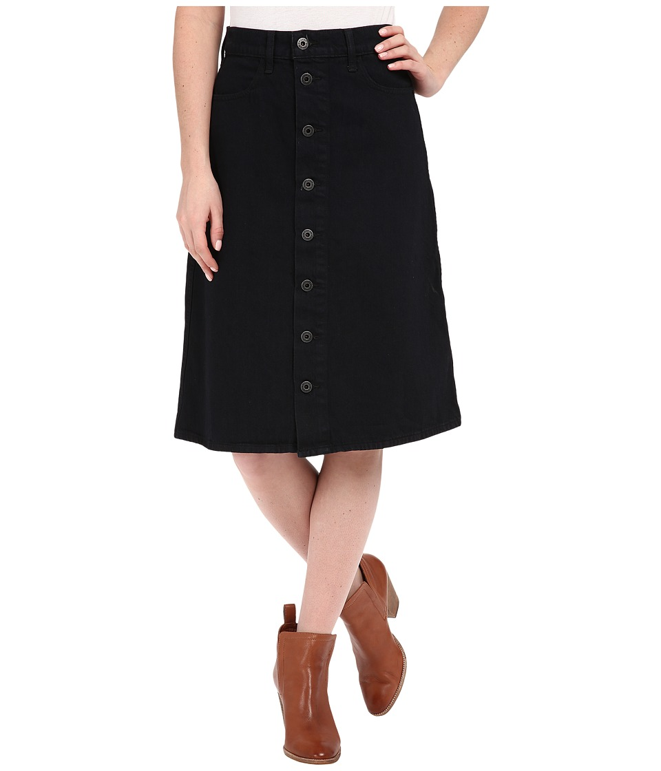 Lucky Brand - High Rise Button Front Skirt (Black Overdye) Women's Skirt