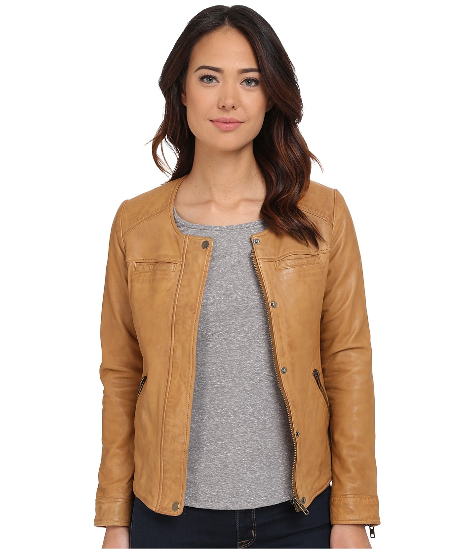 Lucky Brand - Collarless Moto Jacket (Camel) Women's Coat