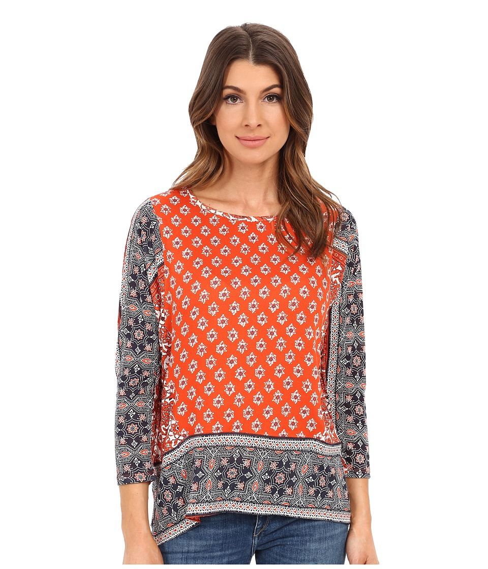 Lucky Brand - Border Print Knit Top (Red Multi) Women's Blouse