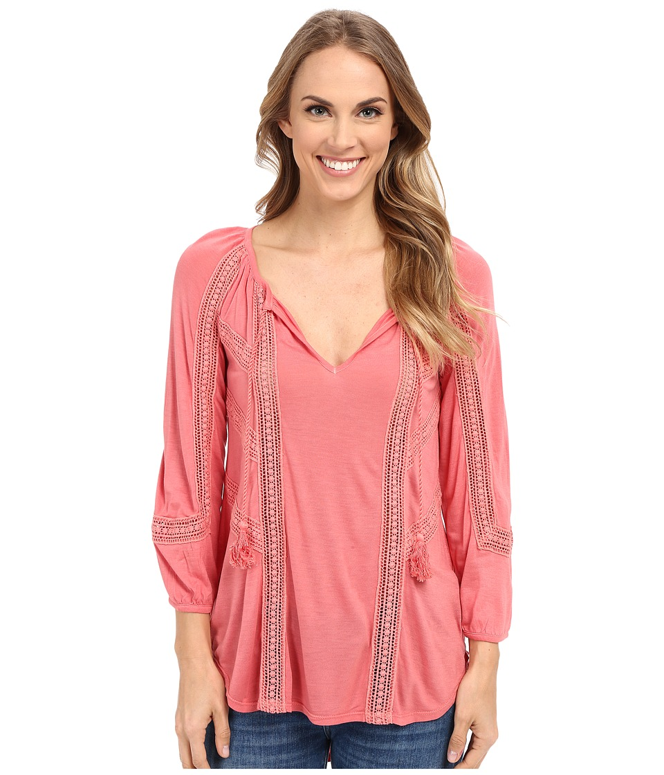 Lucky Brand - Lace Mixed Peasant Top (Faded Rose) Women's Clothing