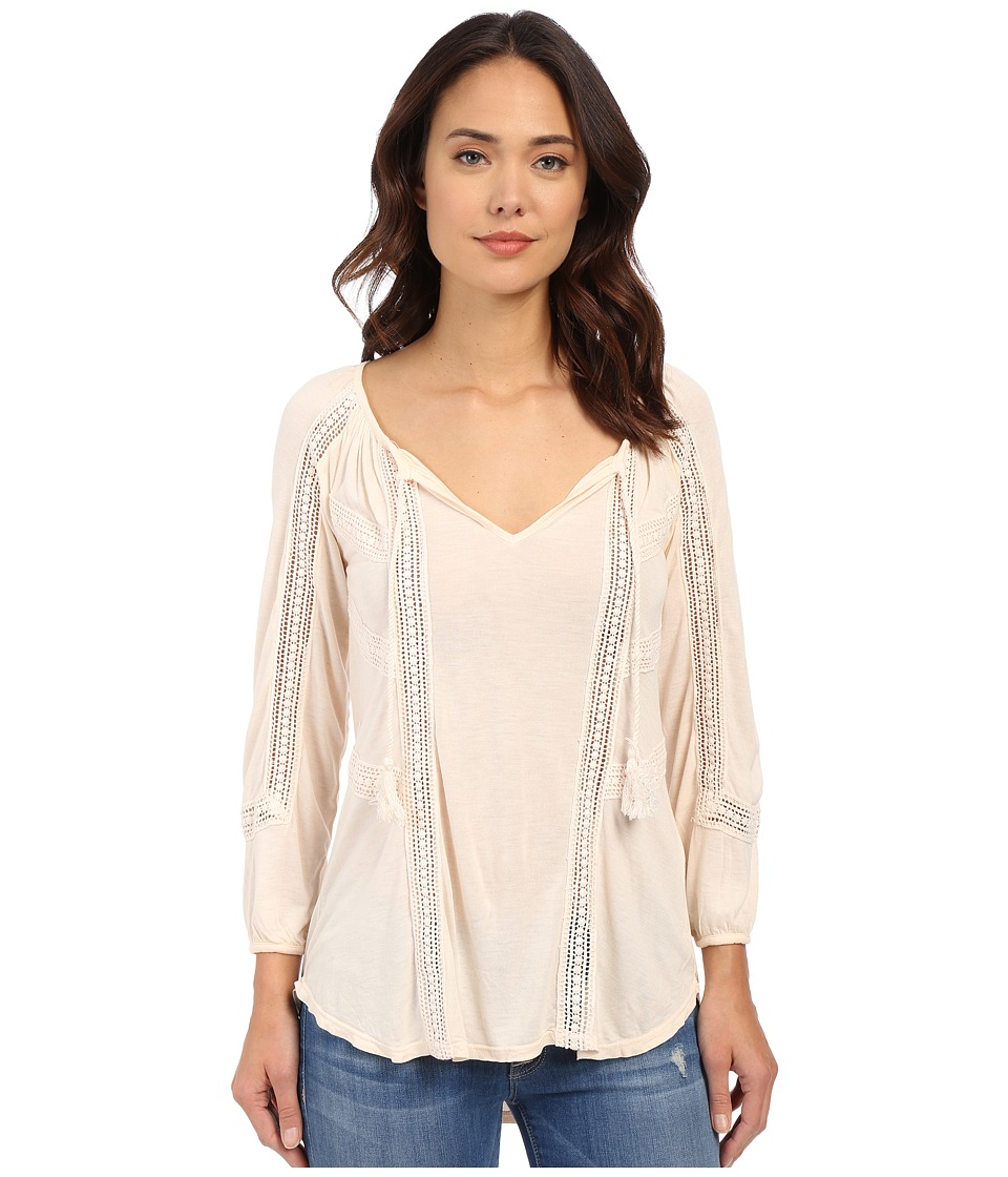 Lucky Brand - Lace Mixed Peasant Top (Pale Dogwood) Women's Clothing