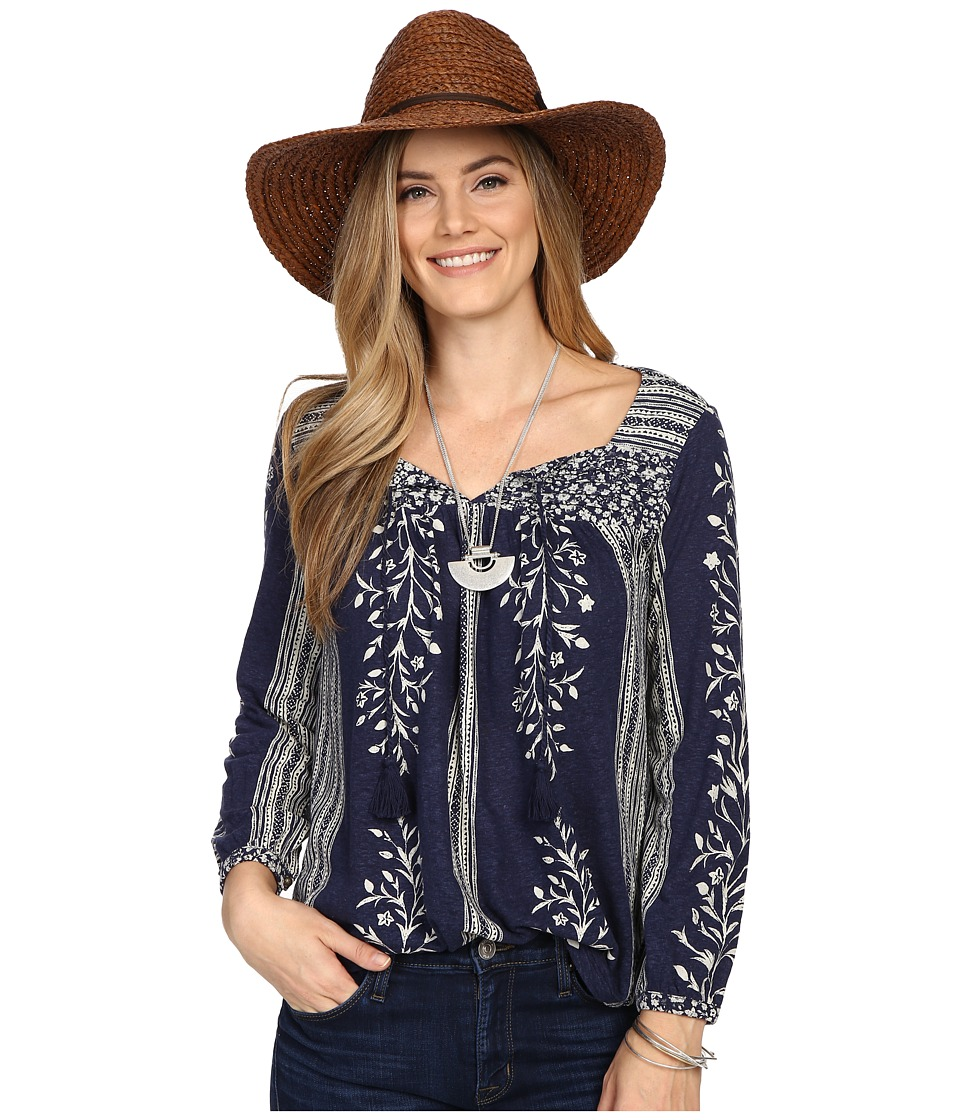Lucky Brand - Mixed Print Top (Navy Multi) Women's Clothing