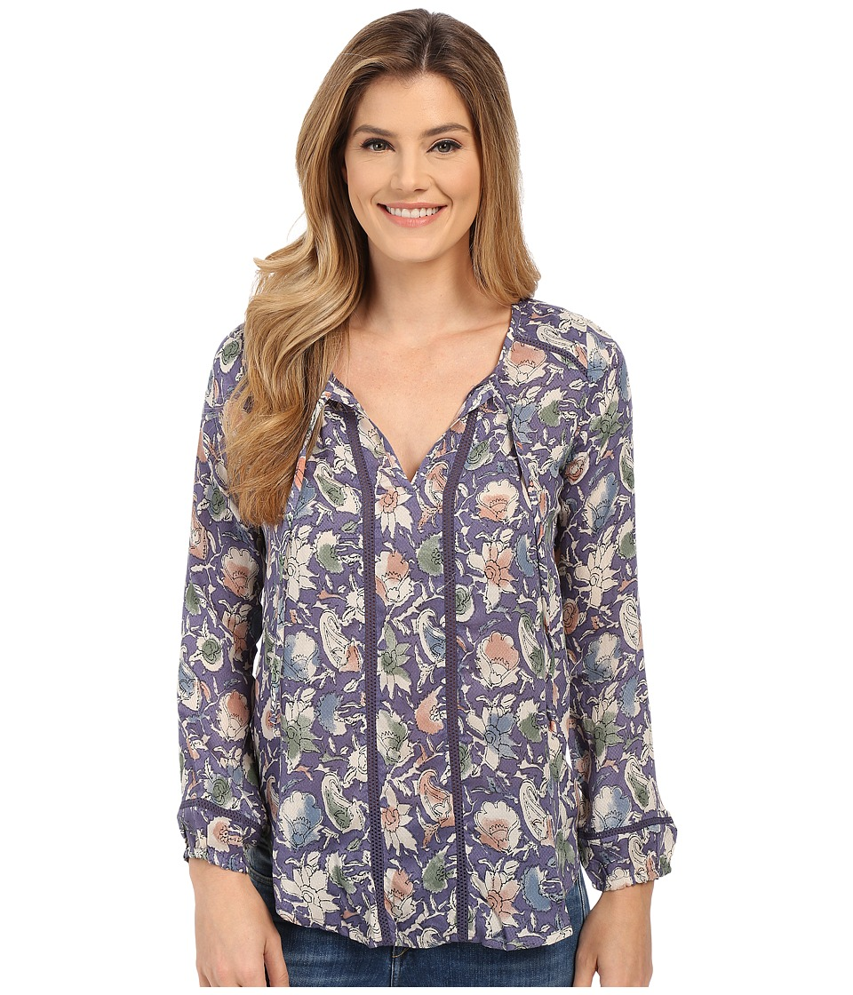 Lucky Brand - Painted Floral Top (Blue Multi) Women's Clothing