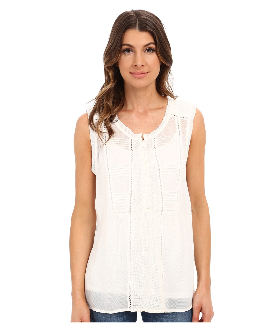 Lucky Brand - Mixed Fabric Top (Whisper White) Women's Blouse