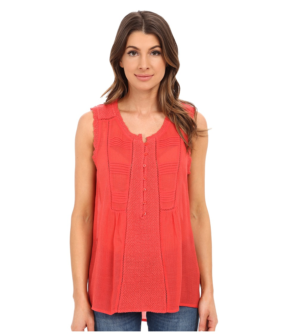 Lucky Brand - Mixed Fabric Top (Bittersweet Red) Women's Blouse
