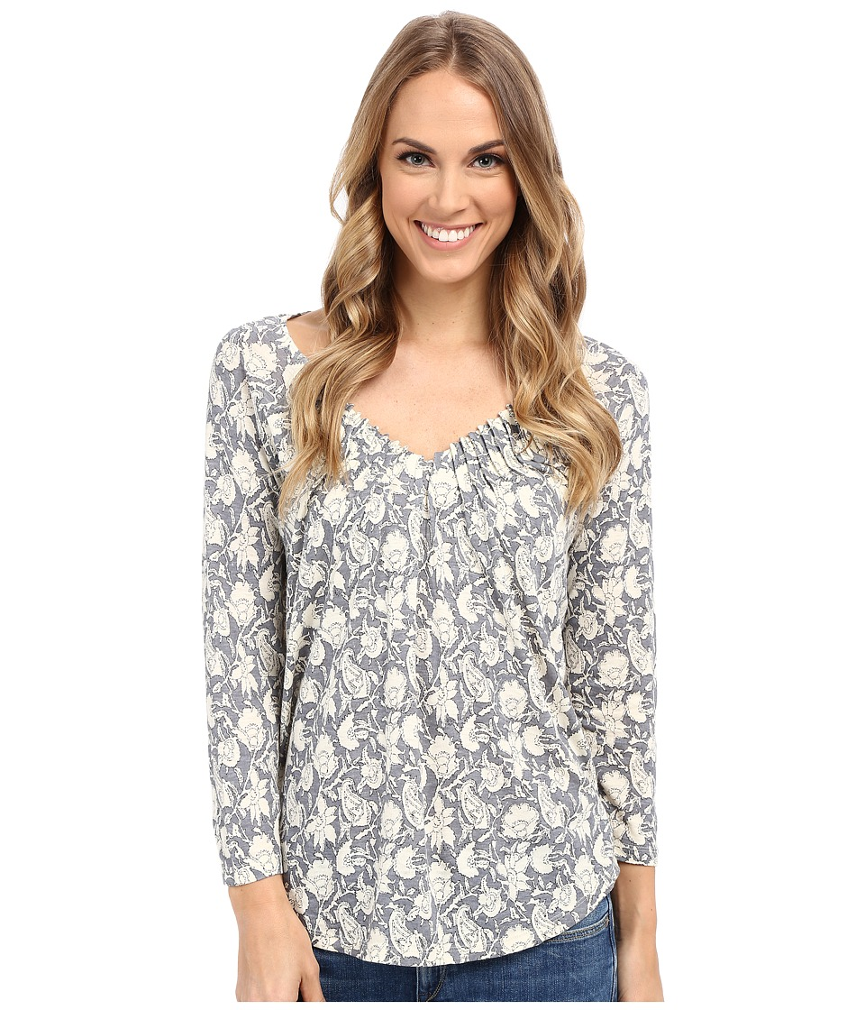 Lucky Brand - Tonal Print Top (Taupe Grey) Women's Long Sleeve Pullover