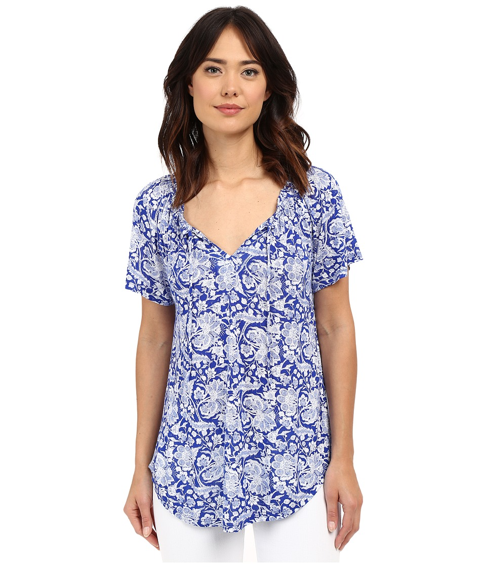Lucky Brand - Floral Top (Blue Multi) Women's Blouse