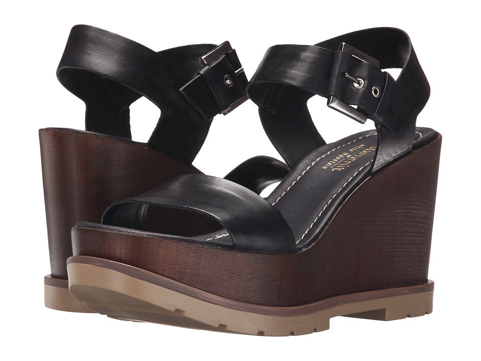 Summit by White Mountain - Vivianne (Black Leather) Women's Wedge Shoes