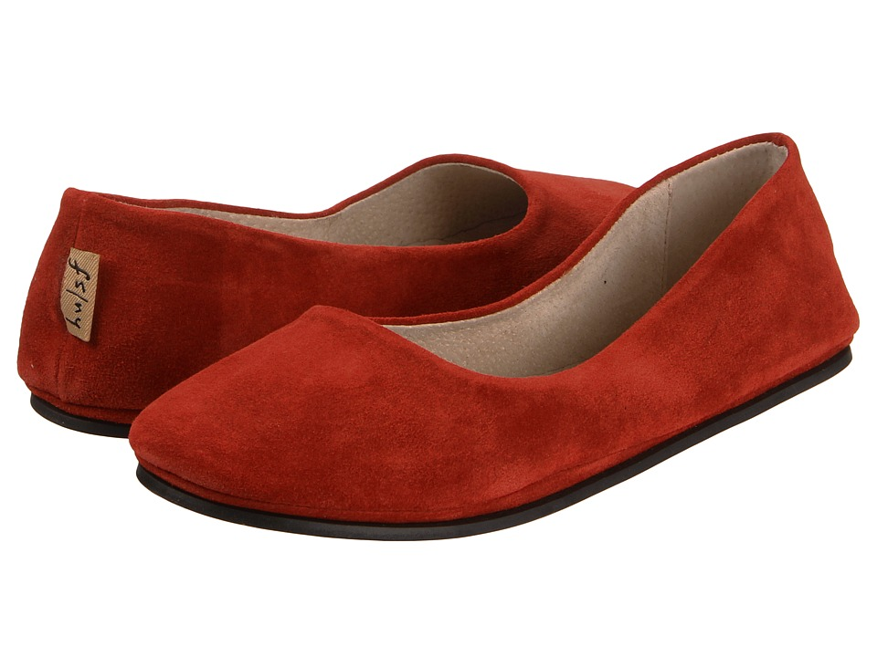 French Sole Sloop Flat (Red Suede) Women