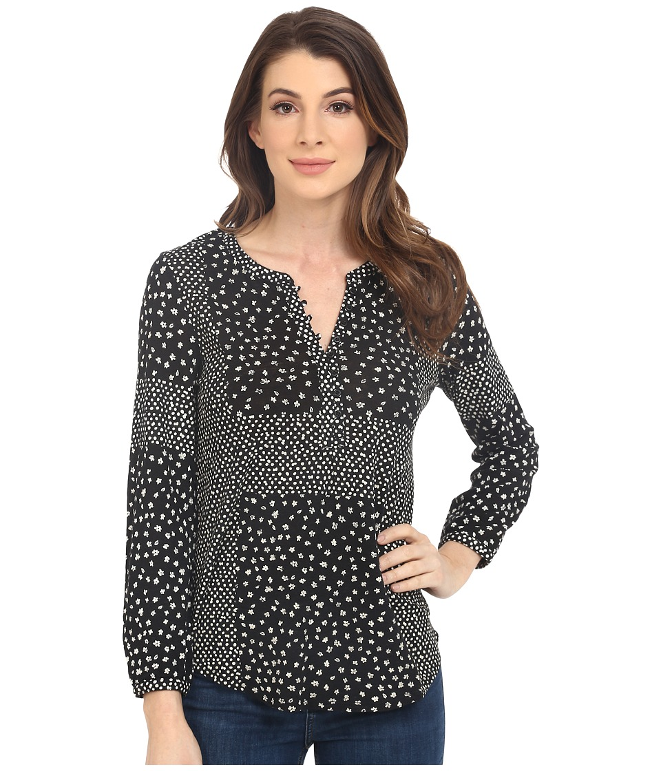 Lucky Brand - Placed Ditsy Print Top (Black Multi) Women's Clothing