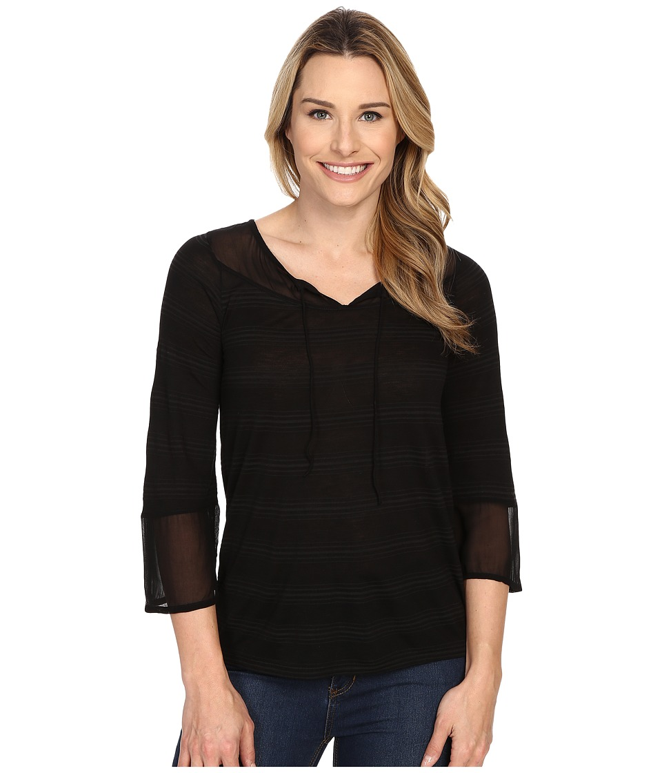 Lucky Brand - Shadow Stripe Top (Black) Women's Long Sleeve Pullover