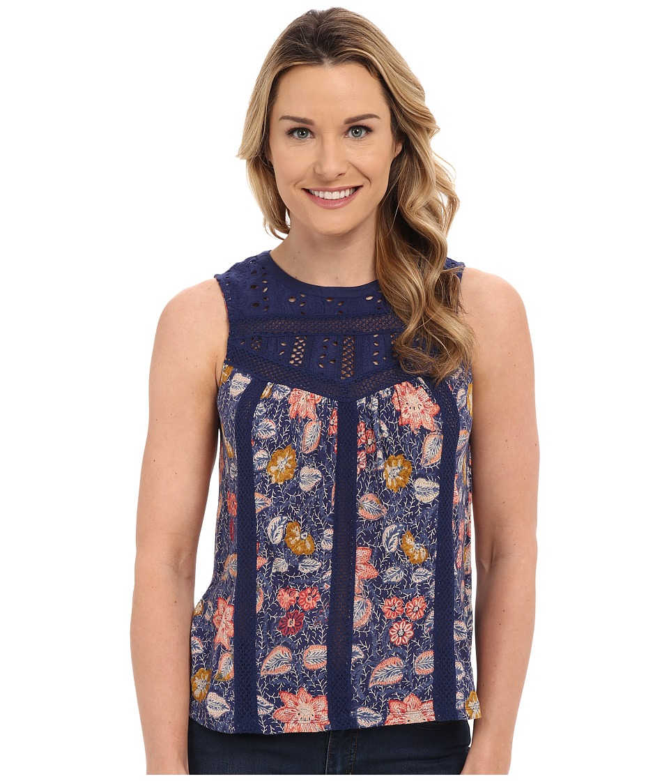 Lucky Brand - Eyelet Yoke Top (Multi Print) Women's Blouse