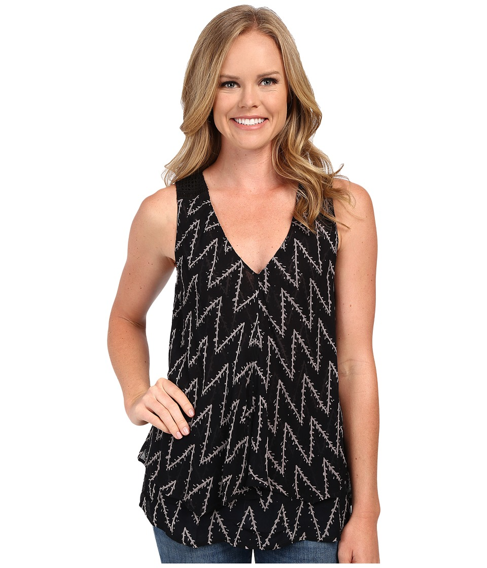 Lucky Brand - Zigzag Vine Top (Black Multi) Women's Sleeveless