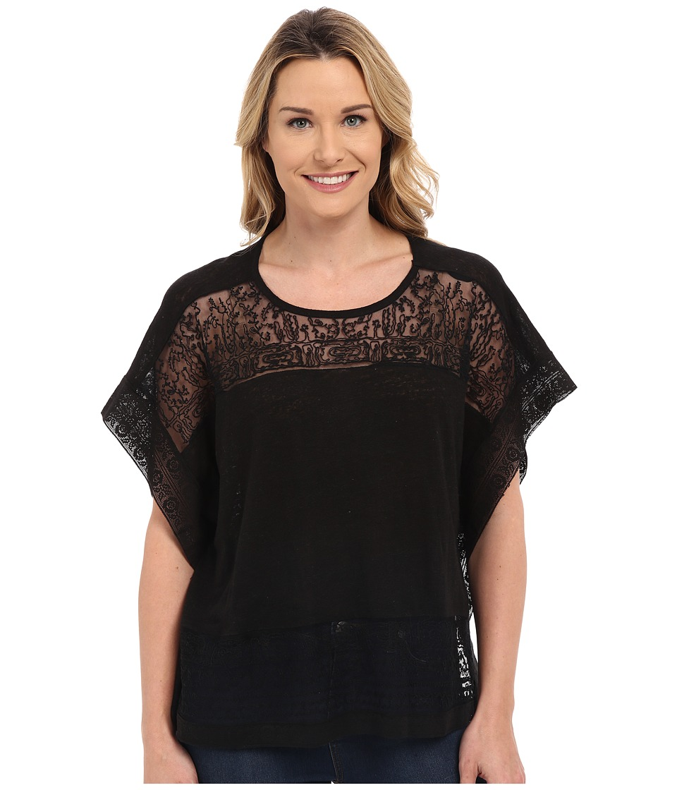 Lucky Brand - Scarf Embroidered Top (Lucky Black) Women's Blouse
