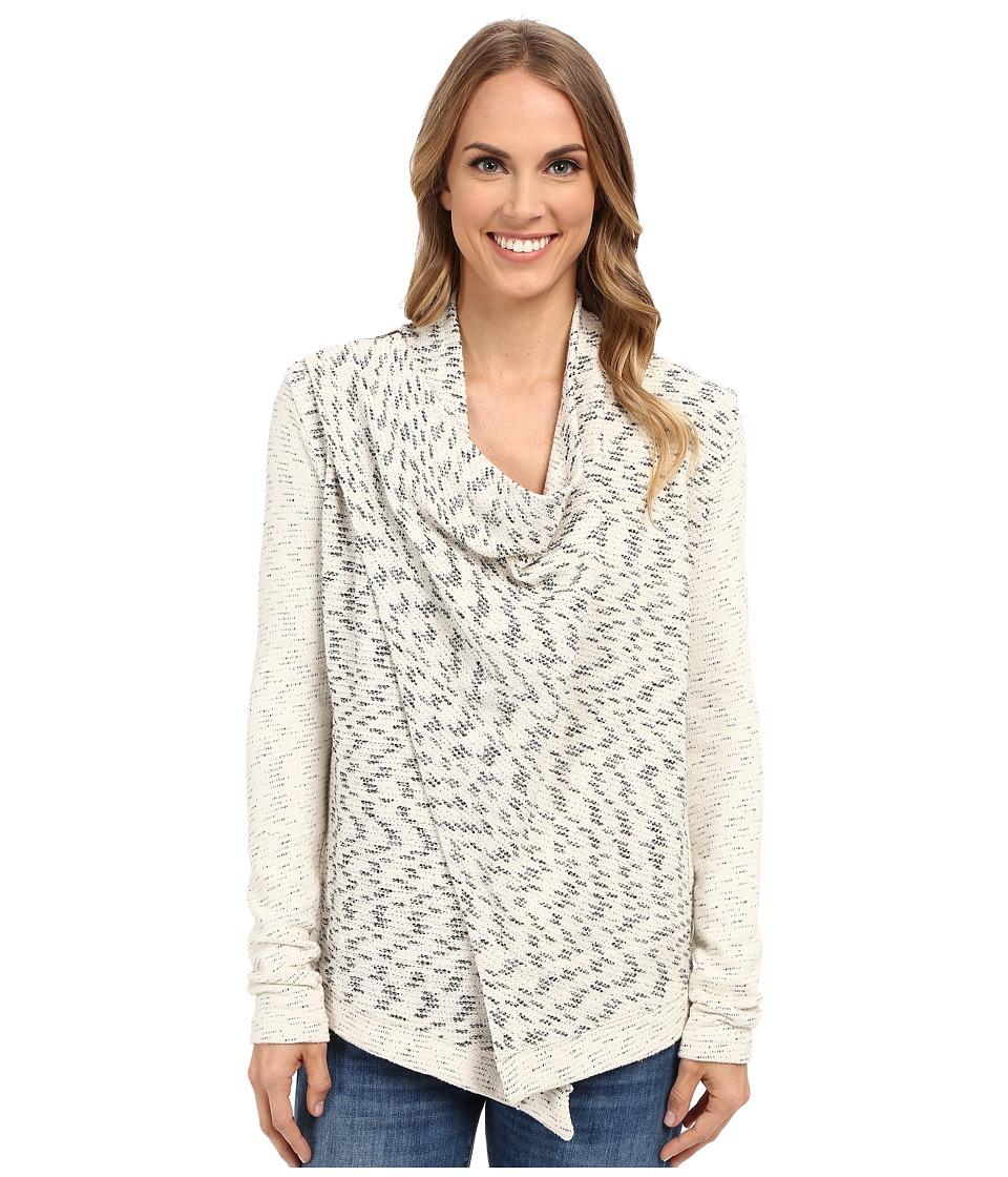 Lucky Brand - Drape Front Jacket (Cream Multi) Women's Sweater