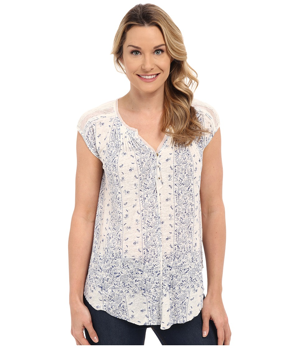 Lucky Brand - Milan Lace Top (Blue Multi) Women's Short Sleeve Pullover
