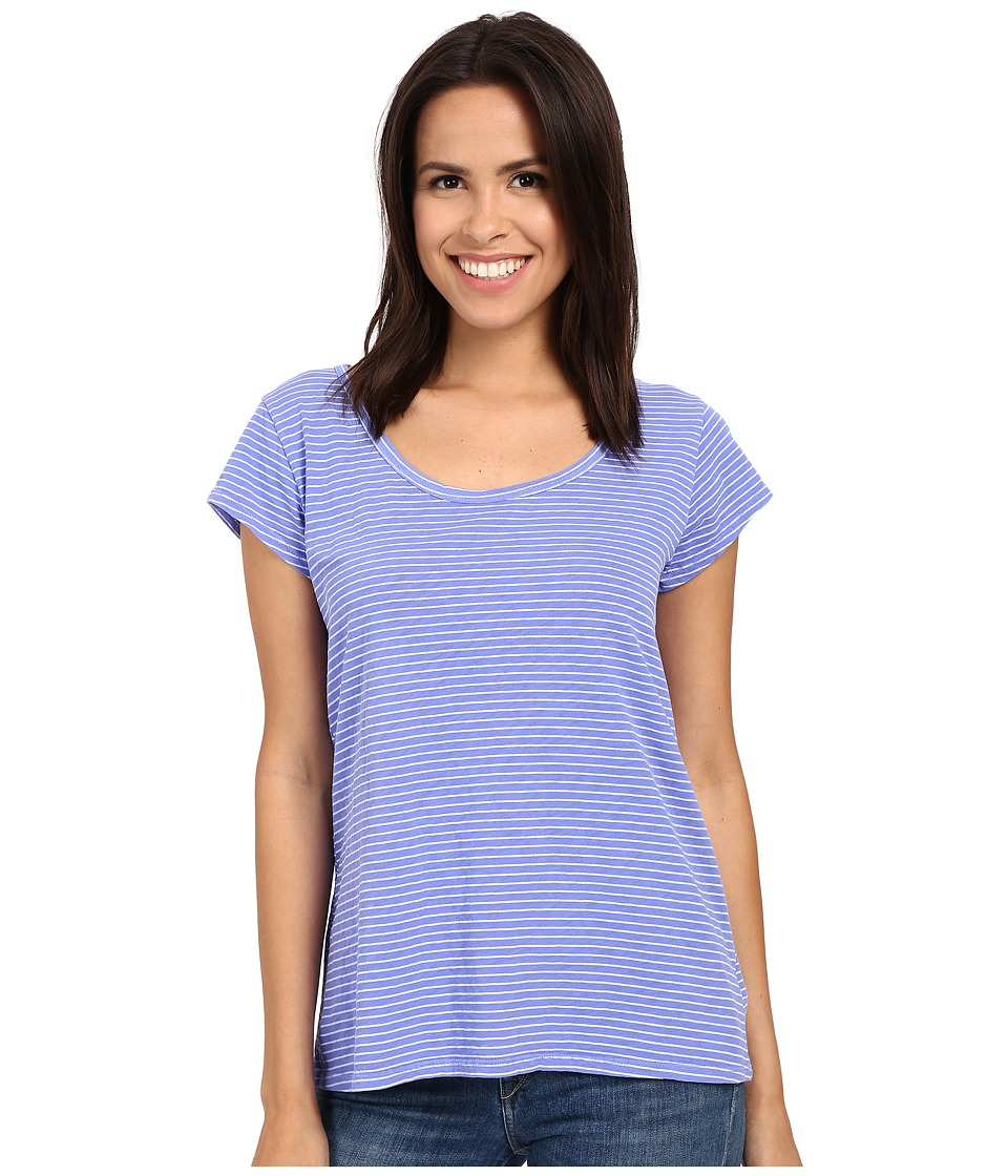 Fresh Produce - Pinstripe Vintage Scoop Neck Tee (Periwinkle) Women's T Shirt
