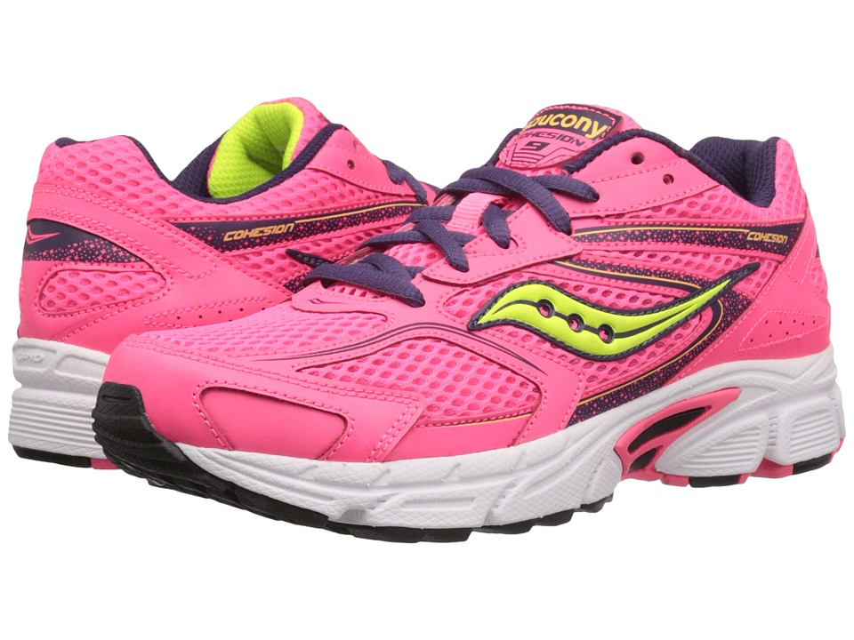 Saucony Kids Cohesion 9 LTT (Little Kid) (Coral/Pink/Blue) Girls Shoes