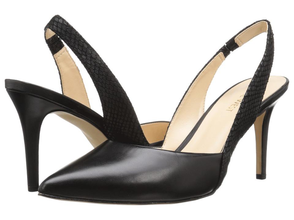 Nine West - Rollover (Black/Black Leather) High Heels