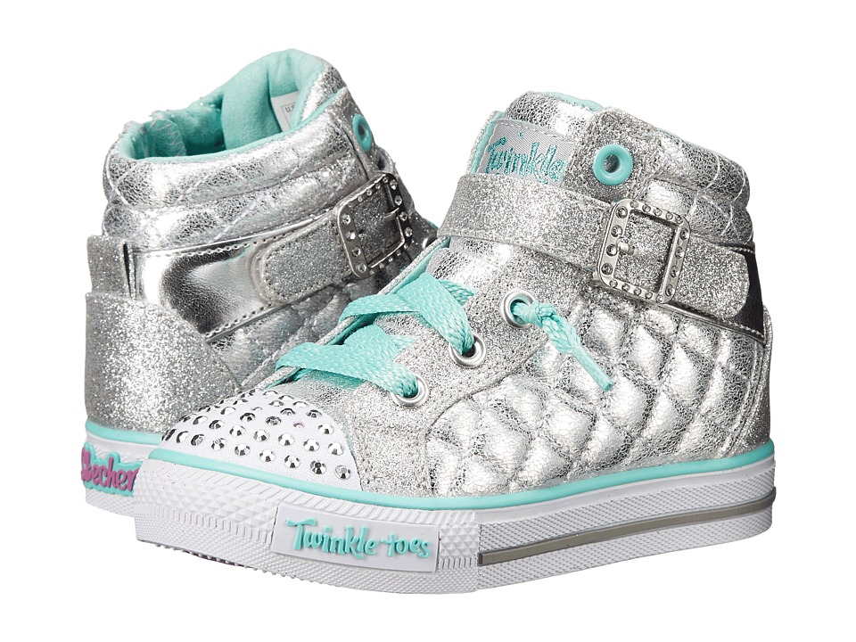 SKECHERS KIDS - Twinkle Toes - Shuffles Sweetheart Sole (Infant/Toddler/Little Kid) (Silver) Girls Shoes
