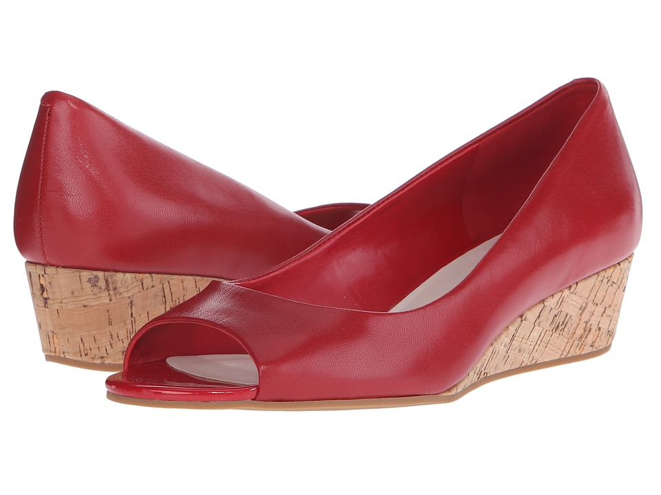 Cole Haan - Elsie Open Toe Wedge II (Tango Red/Cork) Women
