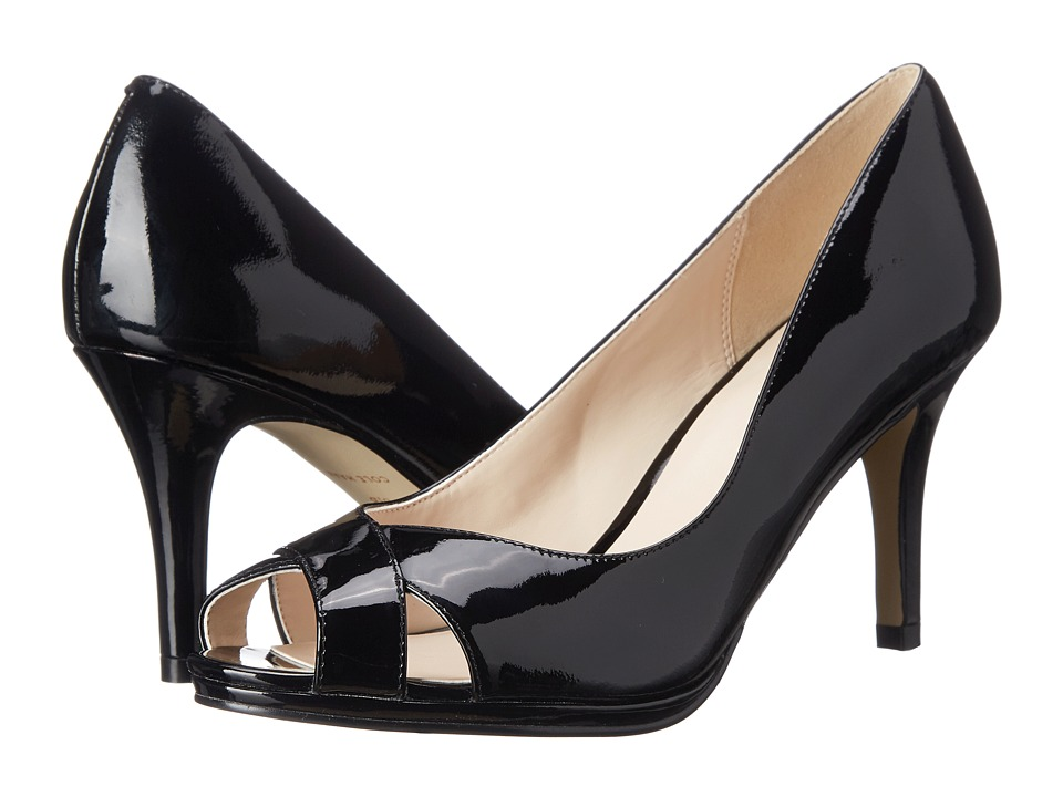 Cole Haan - Lena Open Toe Pump 75 II (Black Patent) Women's Shoes