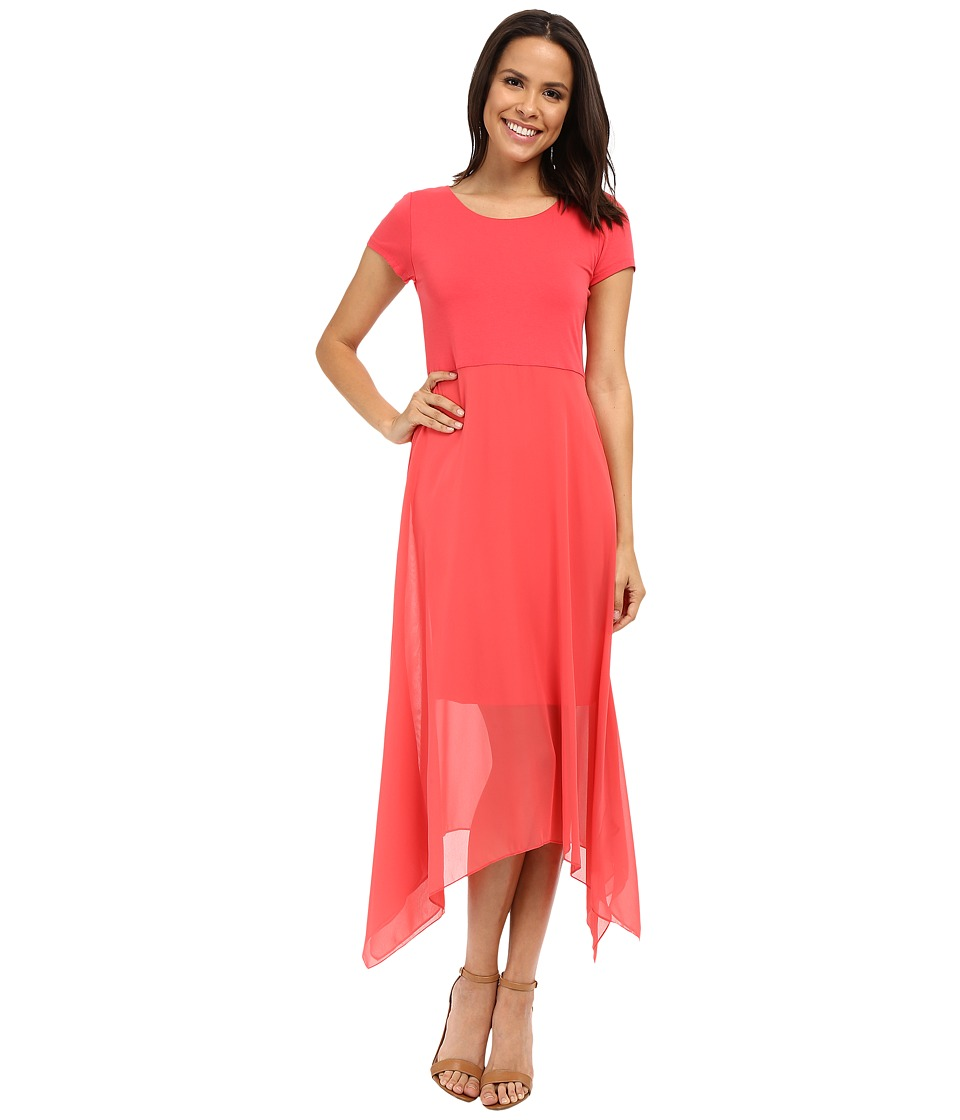 Vince Camuto - Short Sleeve Dress w/ Shark Bite Chiffon Overlay (Guava Fruit) Women's Dress
