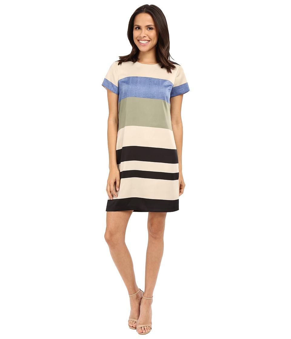Vince Camuto Cap Sleeve Veranda Stripe Shift Dress (Sand Dune) Women