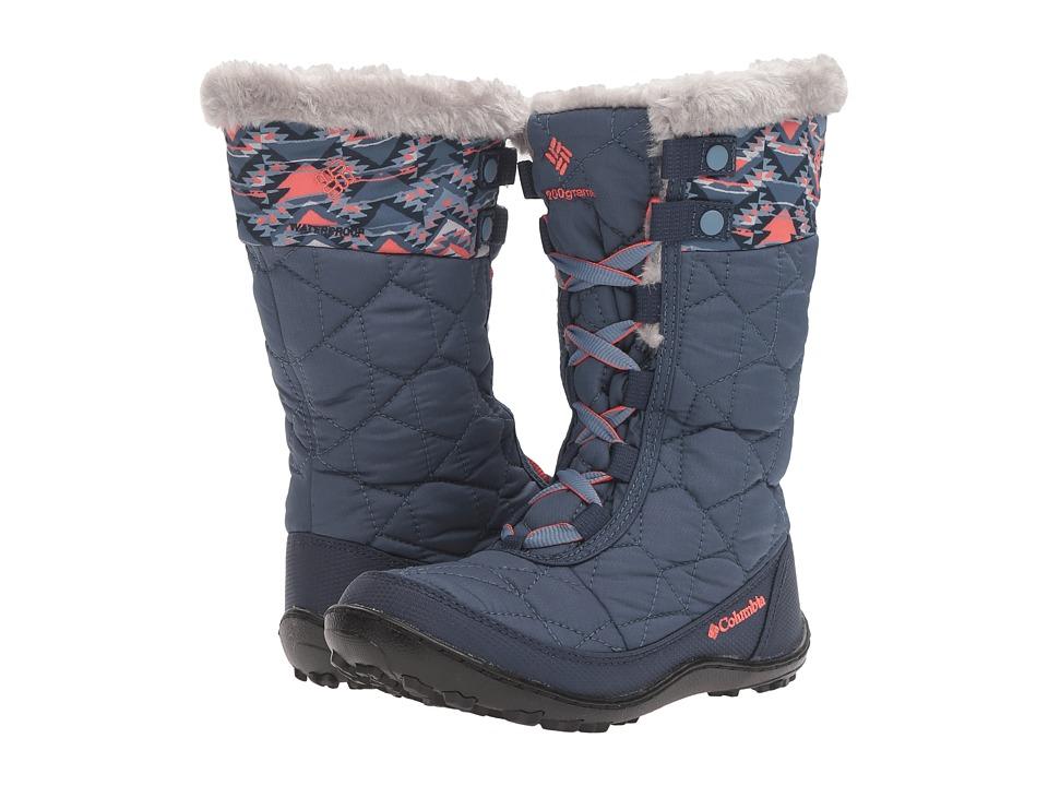 Columbia Kids Minx Mid II Waterproof Omni-Heat (Little Kid/Big Kid) (Dark Mountain/Melonade) Girls Shoes