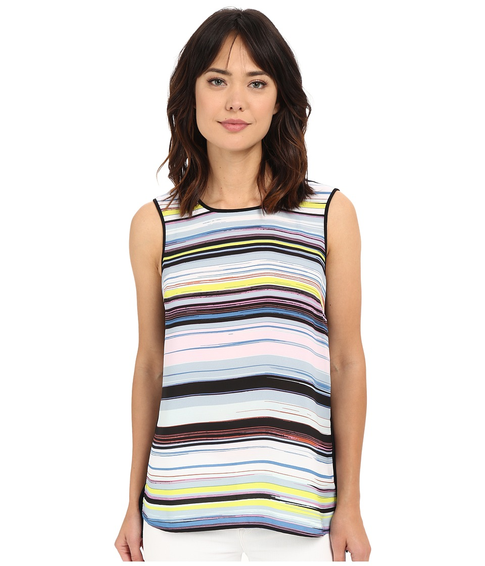 Vince Camuto - Sleeveless Mix Media Stripe Enlightment Top (Echo Blue) Women's Blouse