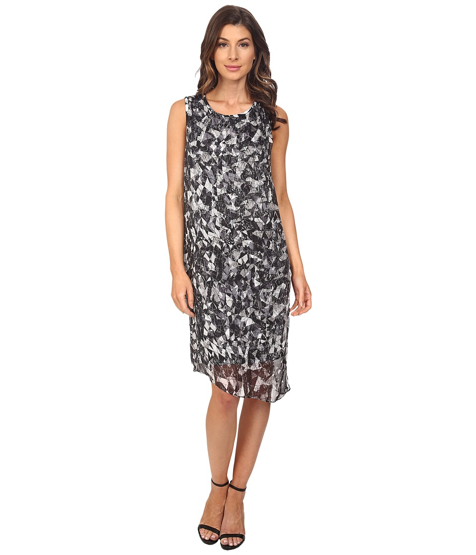 Vince Camuto - Sleeveless Broken Prism Dress w/ Chiffon Overlay (Rich Black) Women's Dress