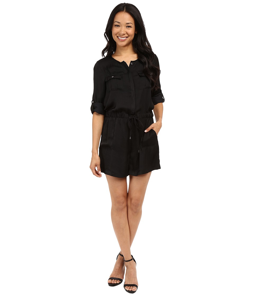 Vince Camuto - Roll-Tab Sleeve Rumple Romper (Rich Black) Women's Jumpsuit & Rompers One Piece