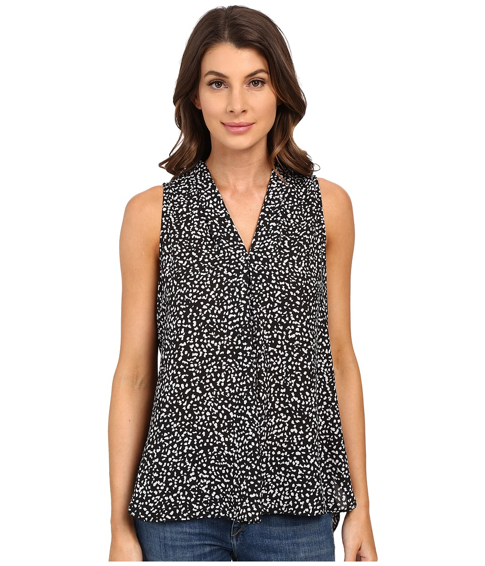 Vince Camuto - Sleeveless Speckle Pop V Blouse w/ Front Pleat (Rich Black) Women's Blouse