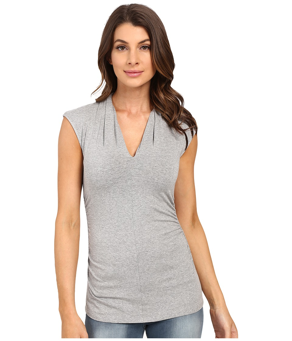 Vince Camuto - S/L Pleat V-Neck Top (Light Heather Grey) Women's Short Sleeve Pullover