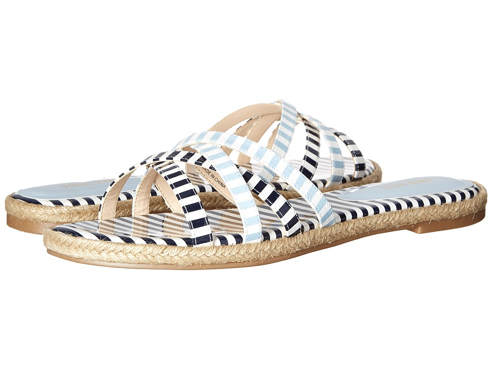 Nine West Vern3 White-Navy-White-Light Blue Synthetic Sandals