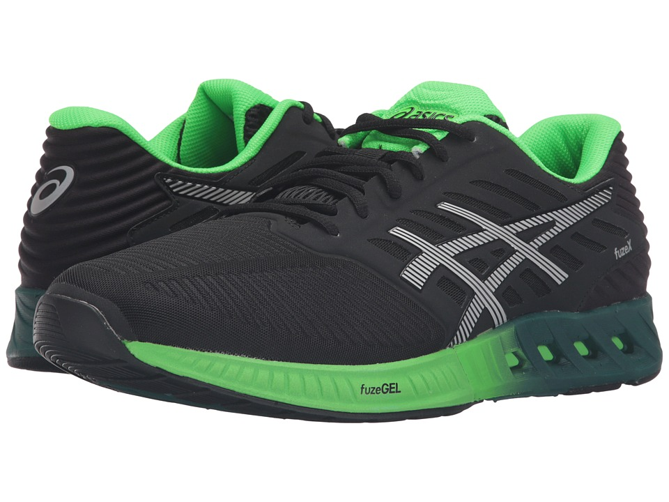ASICS - FuzeX (Black/Silver/Green Gecko) Men's Running Shoes