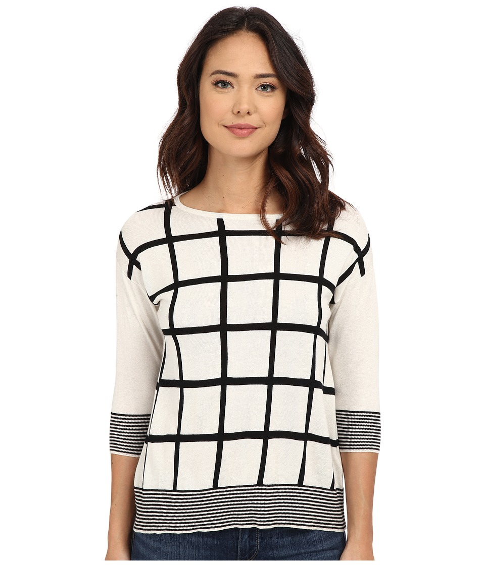 Christin Michaels - Virginia Grid Cashmere Sweater (White Combo) Women's Sweater