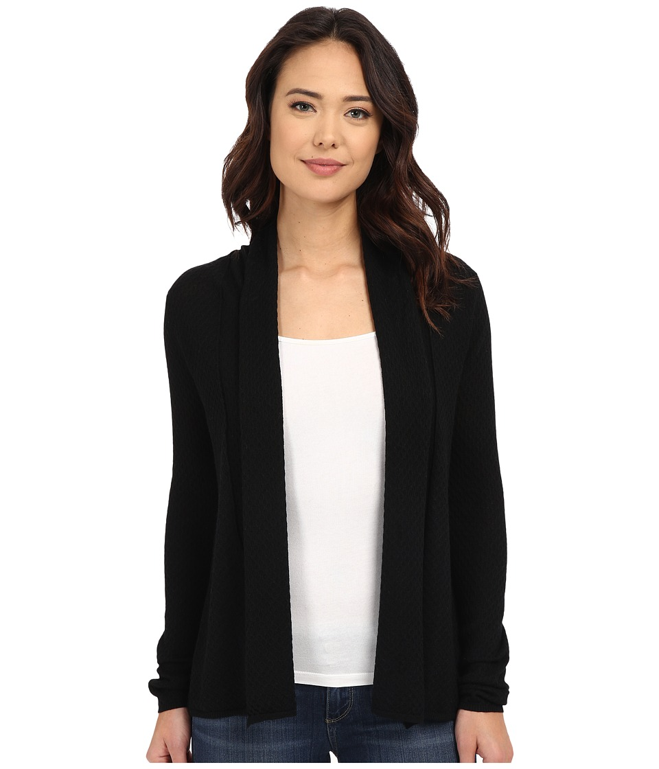 Christin Michaels - Wave Stitch Cashmere Cardigan (Black) Women's Sweater