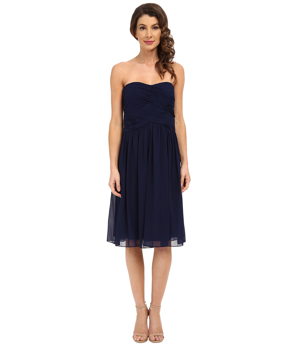 Donna Morgan - Anne Short Strapless Chiffon Dress (Midnight) Women's Dress