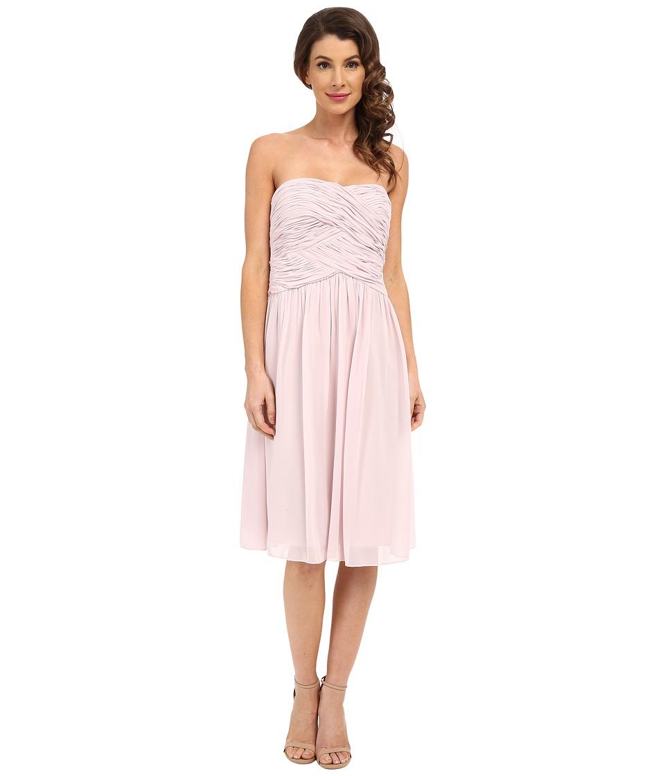 Donna Morgan Anne Short Strapless Chiffon Dress (Palest Pink) Women