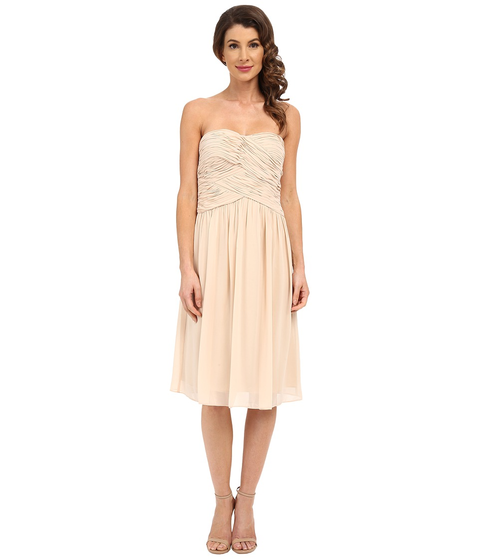 Donna Morgan - Anne Short Strapless Chiffon Dress (Champagne) Women's Dress