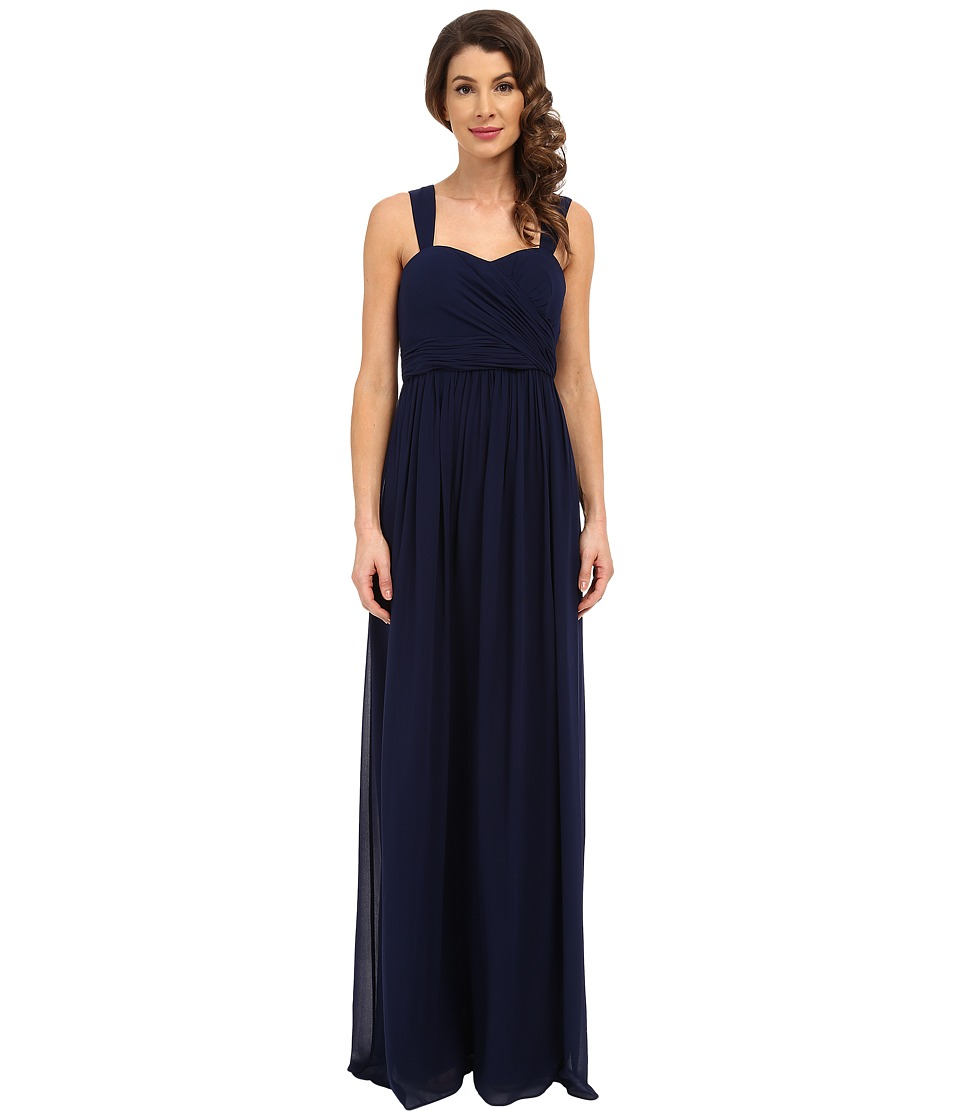 Donna Morgan Bailey Draped Side Strapped Gown Midnight Dress