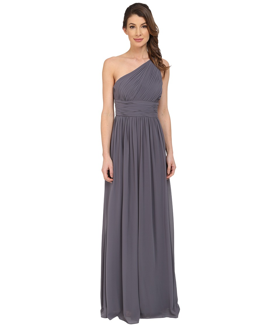 Donna Morgan Rachel One Shoulder Strapless Gown Charcoal Dress