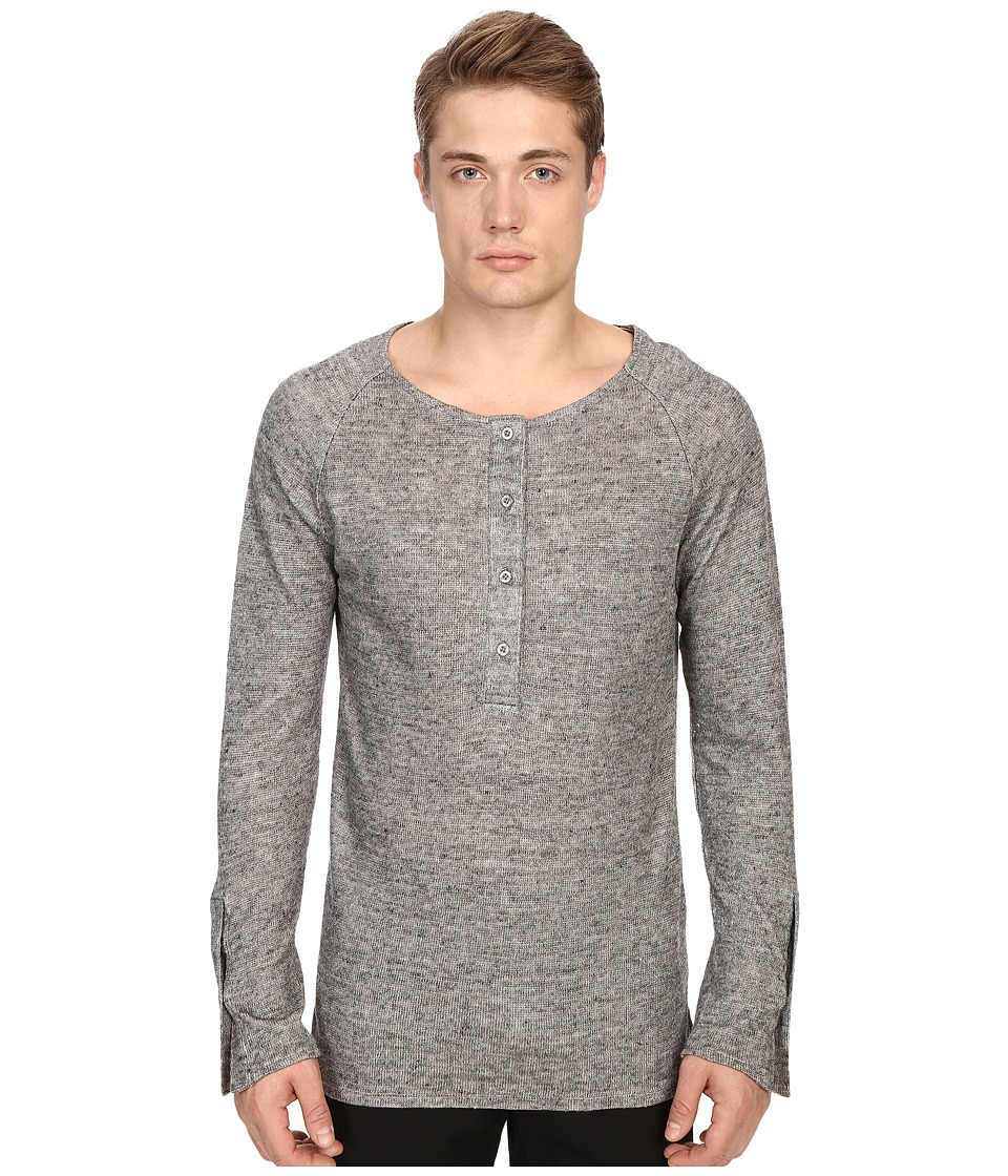 Matiere - Smith Japanese Linen-Cotton Henley (December Sky) Men's Clothing