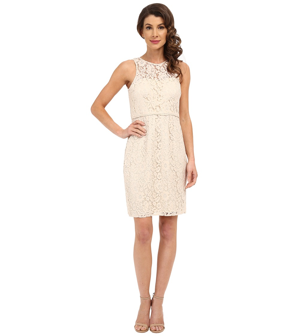 Donna Morgan Harlow Illusion Neck Lace Short Dress
