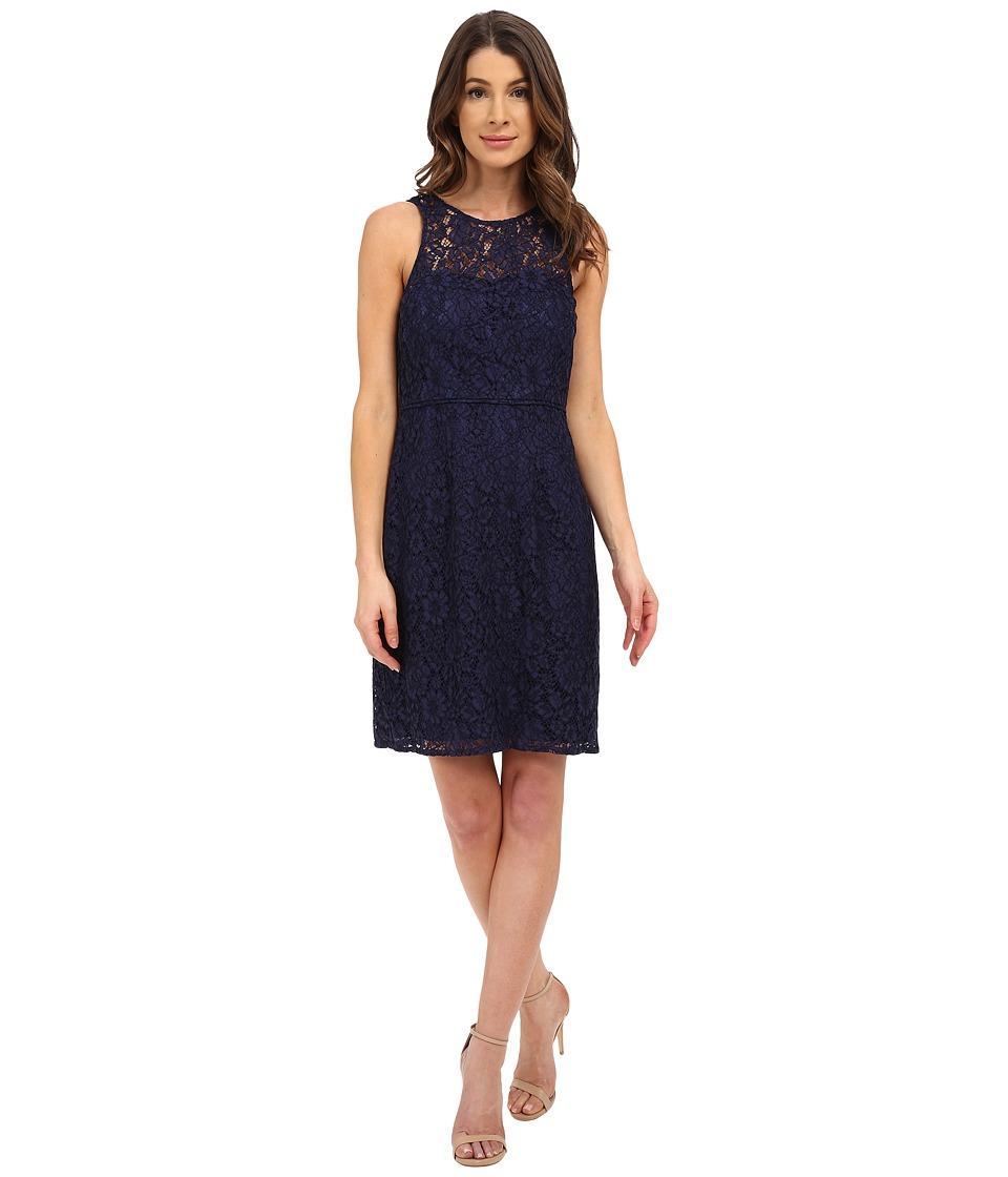 Donna Morgan - Harlow Illusion Neck Lace Short Dress (Indigo) Women's Dress