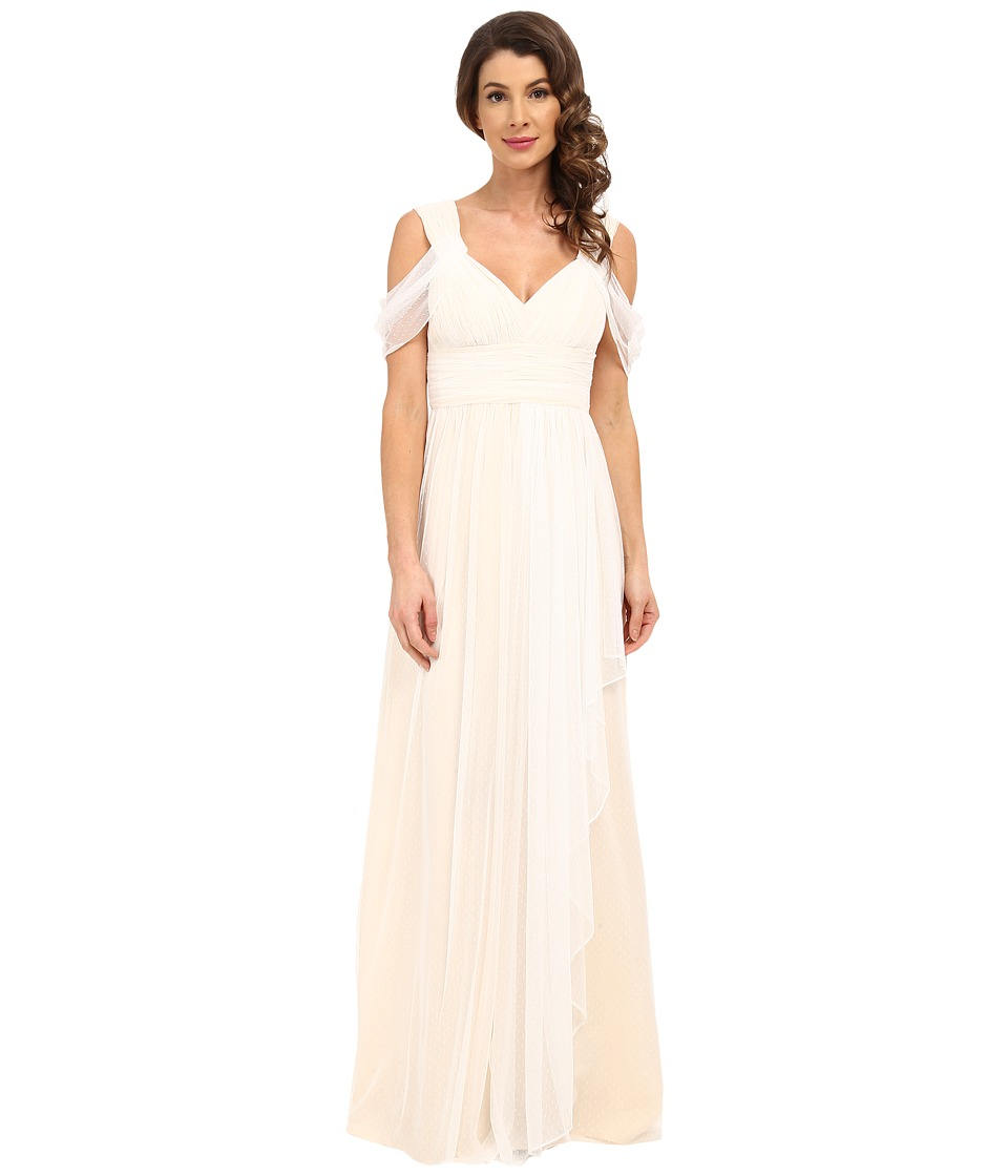 Donna Morgan Collette Dotted Mesh Gown (White Lily) Women